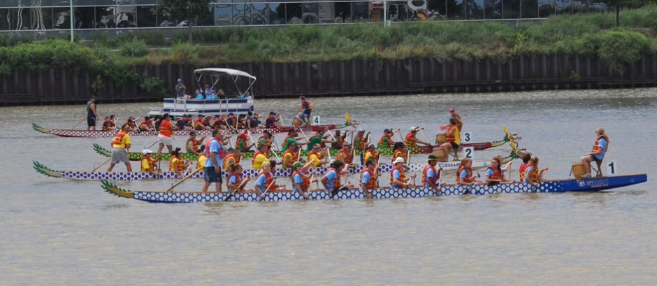 Dragon boats on the Maumee River