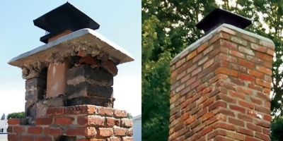 Tiny Tom Chimney Sweep and Repair stack repair before and after in Toledo Ohio